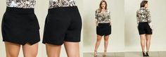 Short Saia Assimétrico Plus Size Preto |Sou apaixonada por esse modelo. o caimento é perfeito