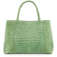 Nancy Gonzalez Small Sectional Crocodile Tote Bag ($1,953) ❤ liked on Polyvore featuring bags, handbags, tote bags, green, croc handbags, nancy gonzalez handbags, zip tote, crocodile tote and crocodile tote bag