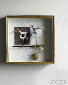 Cool shadowbox/artwork inspiration: Joseph Cornell Recreations - Luxury Home Hardware - ELLE DECOR