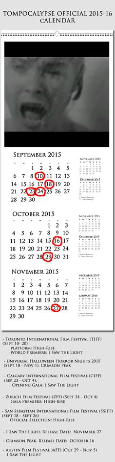 Tompocalypse Official 2015-16 Calendar. September is coming....I'm not ready...