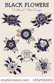 Black Flowers Traditional Tattoo Designs Traditional Tattoo