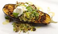 Yotam Ottolenghi's chermoula baked aubergine: Spicy aubergine topped with fruity bulgar and cooling yoghurt – what's not to like? Photograph: Colin Campbell for the Guardian