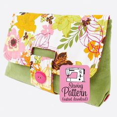 IMPORTANT INFO: This is a PDF SEWING PATTERN you download and print at home. Make a medium size clutch with a unique strap closure using this sewin...
