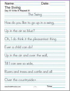 Buy A Child's Garden Of Verses cursive handwriting sheets for kids to practice. Kids love Stevenson's poetry: Manuscript, cursive writing, copywork, draw a picture, Cursive Handwriting Sheets, Learn Handwriting, Print Handwriting, Handwriting Analysis, Cursive Alphabet, Learn Cursive, Handwriting Ideas, Spanish Alphabet, Handwriting Worksheets For Kindergarten