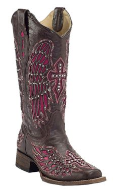 Corral® Women's Dark Brown with Winged Cross Pink Inlay Square Toe Cowboy Boot
