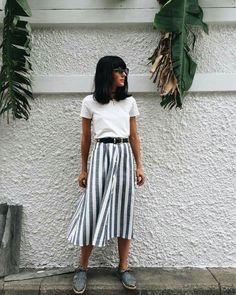 Striped midi skirt and a t