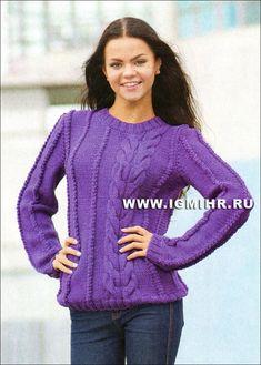 Для любительниц узоров из кос. Фиолетовый пуловер со жгутами. Спицы