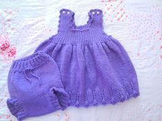 Hand Knit Baby Girl Dress with Bloomers size 2 - 3, Lavender Purple Jumper Diaper Cover Toddler Set