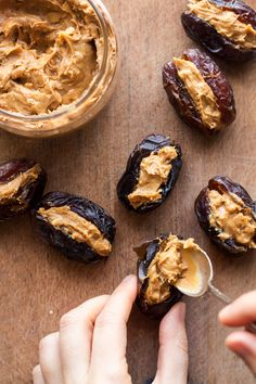 Stuffed dates with peanut butter - Lazy Cat Kitchen Easy Eid Recipes, Date Recipes Desserts, Ramadan Recipes, Vegan Desserts, Plats Ramadan, Food Garnishes, Healthy Treats, Peanut Butter, Stuffed Dates