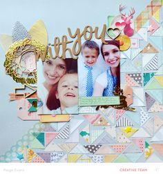 Scrapbook layout idea for using up your scraps by Paige Evans with video