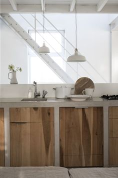 #white + wood modern kitchen