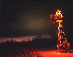 windmill dressed for Christmas