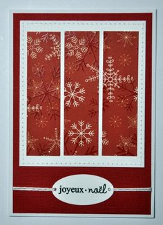 Have this paper...need to try, maybe sparkly ribbon across bottom with big white snowflake