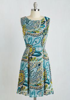 All According to Plant Dress in Paisley - Mid-length, Woven, Multi, Blue, Paisley, Print, Casual, A-line, Sleeveless, Summer, Better, Variation, Top Rated