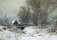 Louis Apol (Dutch painter) 1850 - 1936 A Cottage in a Snowy Landscape, s.d. oil on canvas 31 1/2 x 44 in. (80 x 111.8 cm.) signed 'Louis Apol' (lower left) private collection
