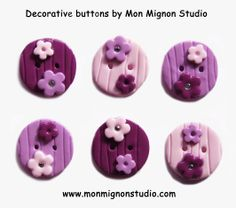 Mon Mignon Studio - the biggest and best selection of decorative fashion buttons and hand made push pins in the UK.  buttons, novelty buttons, craft buttons, handmade buttons, unusual buttons, decorative buttons, designer buttons, cute buttons, polymer clay buttons, fashion buttons, lavender buttons, pink buttons, purple buttons, flower buttons