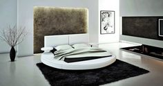 Modrest Modern White Bonded Leather Round Queen Size Bed Frame
