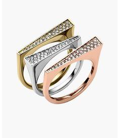 Michael Kors Stackable Tri-Tone Rings (Set of 3)