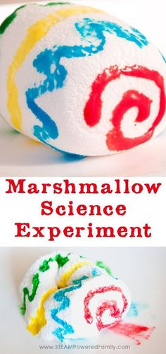 This simple marshmallow science experiment is an engaging STEAM activity for elementary. Learn a little science and a little art, then eat the results! via /steampoweredfam/