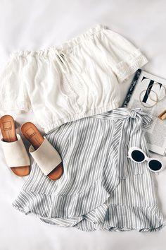 Walk on Air Blue and White Striped Wrap Mini Skirt 8