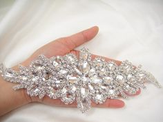 Diamante Applique rhinestone appliquecrystal bridal by LaceNTrim, $17.85