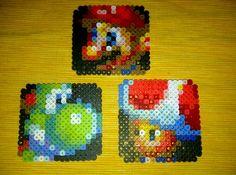 Mario, Yoshi  Toad Perler Bead Coasters by Max