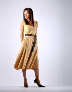 Trendy Flute Dress - Tan Flute, Diana, Midi Skirt, Shirt Dress, Elegant, Chic, Skirts, Beautiful, Dresses