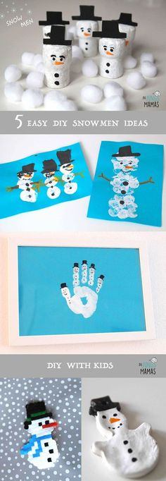 DIY - 5 simple snowmen paint and tinker- DIY – 5 einfache Schneemänner malen und basteln 5 simple ideas to paint snowmen and tinker with kids // 5 easy ideas to make snowmen with your kids - Snowman Crafts, Craft Stick Crafts, Easy Crafts, Diy And Crafts, Paper Craft, Winter Girl, Fete Halloween, Winter Crafts For Kids, Toddler Crafts
