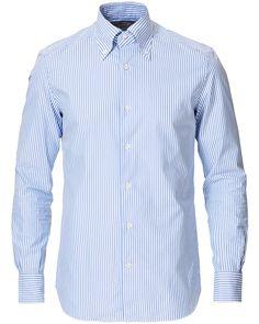 Mazzarelli Soft Oxford Button Down Shirt White/Blue