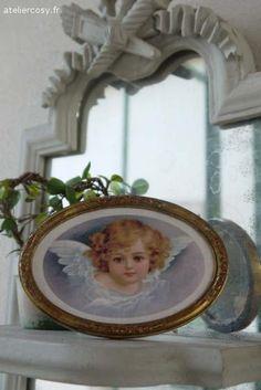 Ange et cadre ancien  Brocante de charme atelier cosy.fr