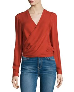 Gia+Long-Sleeve+Silk+Wrap+Blouse,+Harissa+by+L\'Agence+at+Neiman+Marcus.