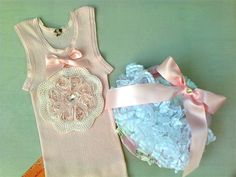 """Sweet Vintage""  Heart Diamonte Singlet and  Bloomer/Nappy covers... pants"