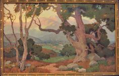 Marion Kavanaugh Wachtel - The Oaks (Santa Paula Valley, California). Circa x A print of this hangs in my living room. Landscape Sketch, Watercolor Landscape, Landscape Paintings, Vintage California, American Impressionism, Impressionist, Oil Paintings, Watercolor Paintings, Art