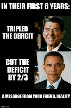 Republican vs Democrat. And Obama inherited a major recession, Regan's trickle down economics and other misguided policies created a recession.