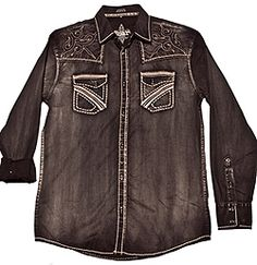 Faded black woven shirt with cool embroidered pockets