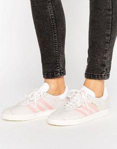 buy popular cca8d 8d283 adidas Originals Pastel Grey And Pink Gazelle Trainers