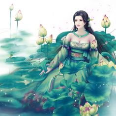 Green Lotus - gown, oriental, divine, nice, realistic, floral, white, water, sweet, pretty, female, gorgeous, hd, girl, maiden, flower, wet, sublime, green, fantasy, lotus, lovely, water lily, blossom, beautiful, dress, black hair, lily pads, fantasy girl, cg, beauty, lady, pond, awesome, angelic, long hair, wonderful