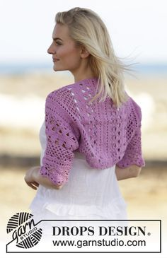 "Crochet DROPS bolero with lace pattern in ""Cotton Light"". Size: S - XXXL. ~ DROPS Design"