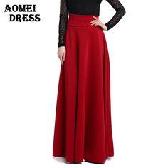 S M L 5XL alta cintura plissado elegante Saia vinho vermelho preto cor sólida…