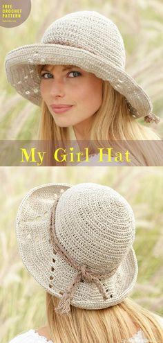 """My Girl Hat [Free Crochet Pattern] Crochet → lace Hat   size: approx. 54/58 cm / 21/22 3/4""""   Written   US Terms Level: upper beginner yarn: Garnstudiohook: 3.5 mm/E/4 Author: by DROPS Design #crochethat #freecrochetpattern"""