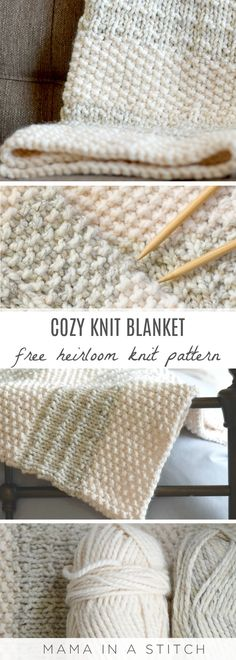 Easy Heirloom Knit Blanket Pattern via @MamaInAStitch   This easy knitting pattern works up quickly and fast one large needles and with super bulky yarn. It's so pretty and good for new knitters! #crafts free pattern #diy