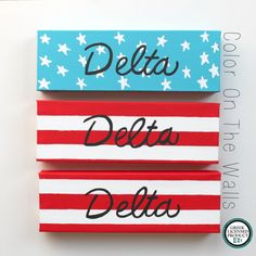 Tri Delta American Flag Canvases -  Set Of Three by ColorOnTheWalls #tridelta