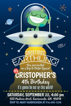 Greetings Earthling! Party invitation for instant download at #etsy shop 'Ideas2Print' #partyprintables #party #alien #characterdesign