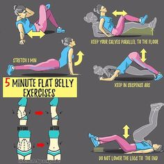 Tag your friends and challenge them with these 5 minute flat belly workouts ! #female6packguide 💕