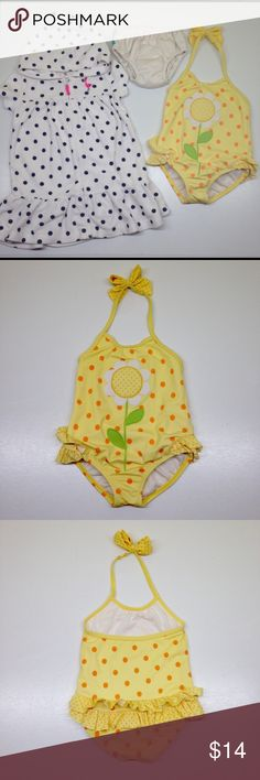 Free Cover & Swim Diaper‼️ Gymboree Swimsuit Adorable Gymboree Bathing Suit yellow with cute orange polka dots. The flower is part embroidered part appliqué, good used condition because it shows some wear. The swim Cover is Carter's in a size 18M and the swim diaper is Charlie Banana 21-27lbs. Gymboree Swim One Piece