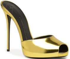 Giuseppe Zanotti Gold Mules Spring 2014 #Shoes #Heels #Golden