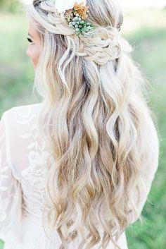 wedding hairstyle trends half up blond hair with braid locksbyleslie