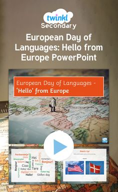 Discover how different European countries say hello in this fun geographical powerpoint presentation for European Day of Languages. European Day Of Languages, European Countries, Hello G, Say Hello, Hello In Languages, Secondary Resources, Secondary School, Geography, Presentation