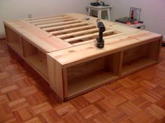 diy platform bed with storage plans - Google Search