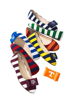Be true to your school by customizing these preppy poplin flats in your alma mater's colors. If you really want to gild the lily, add school logo bows for game day.
